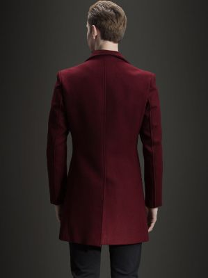 Burgundy red winter wool coat for men with double breast buttons