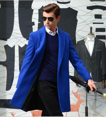 Oversize wool coat for men with hidden closure button