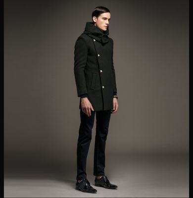 Men's Hooded Woolen Winter Coat with Diagonal buttons and a Wide Collar