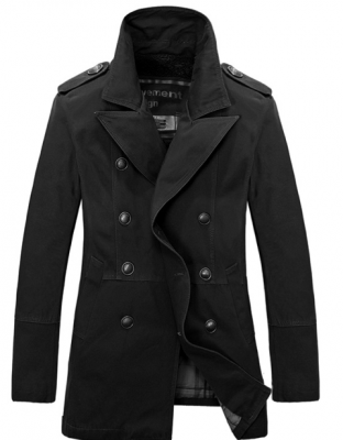 Double Breasted Trench Coat for Men with Slim Fit Cut