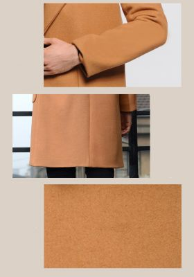 Oversize wool coat for men with single button closure