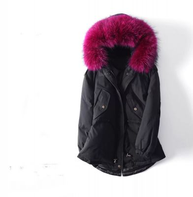 Winter Trench Coat for Women with Fur Hood