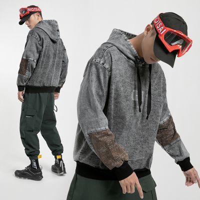 Men's denim hoodie streetwear