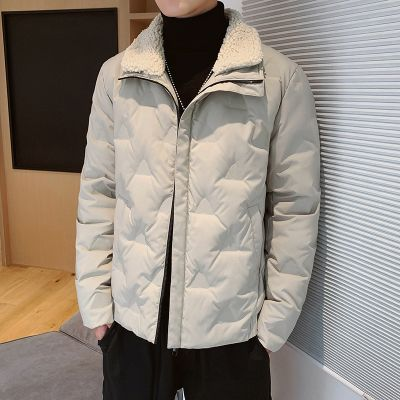Men's thick winter jacket with fur collar