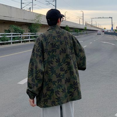 Men's jacket with all over leaf print in green