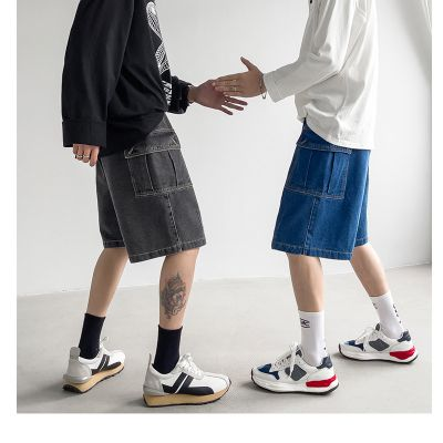 Men's oversize denim shorts with drawcord