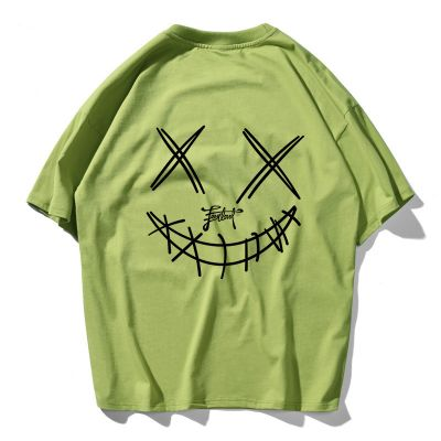 Men short sleeves cotton t-shirt with devil grimace print