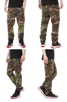 Camo Pants Military Denim Cotton Trousers for Men Straight