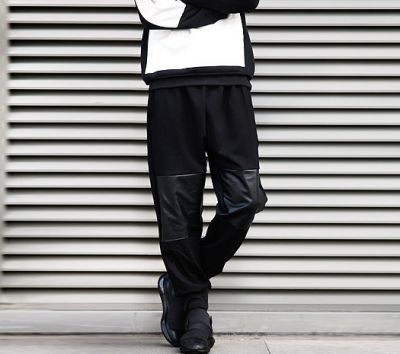 Sarouel Jogger Sweatpants for Men with Leather Knee Patch