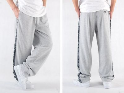 Cotton Sweatpants with Black Paisley Stripe Down the Side