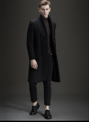 Long wool winter overcoat for men with single chinese style button