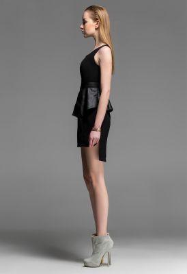 Peplum Waist Dress with Leather Lining Short Front Evening Fashion