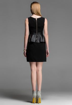 Peplum Waist Dress with Leather Lining Short Front Evening Fashion