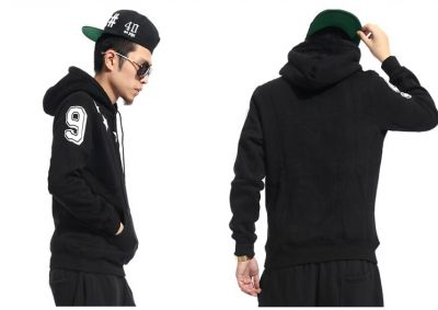 Hoodie Sweatshirt with Swag Stars Print Around Collar 90 Black Grey