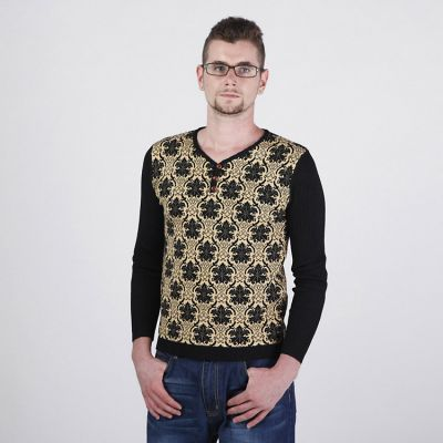 Men's Woven Pullover with Lilies Flower Pattern and Solid Sleeves