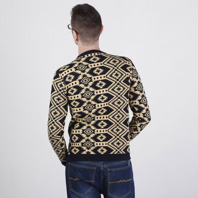 Diamonds and Geometric Pattern Pullover Jumper for Men with Round Collar