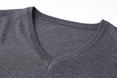 V Neck Woven Jumper for Men Classic Fashion - Grey Black