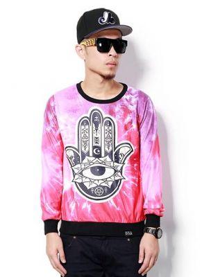 Cosmic Karma Palm Crewneck Sweater for Men - Pink