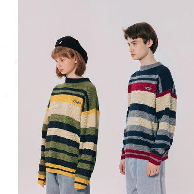 Retro loose fit sweater in strip unisex