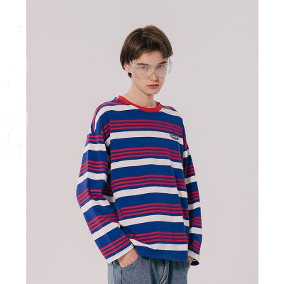 Retro striped sweater with long sleeves unisex