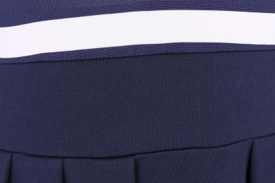 Striped Navy Blue and White dress with pleated navy skirt