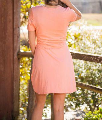 Women's summer dress with high waist and deep neckline
