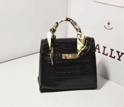 Scarf Handle Mock Croc PU Leather Handbag for Women