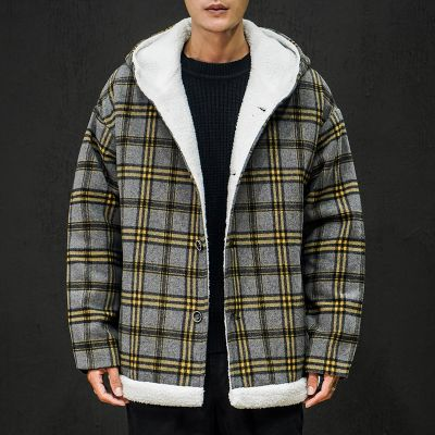 Sherpa coat with hood check print for men