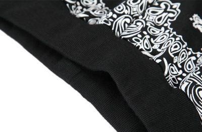 Paisley Bandana Print Cotton Shorts Basketball Style - Black White