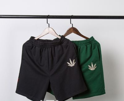 Cotton shorts for men with embroidered weed leaf logo