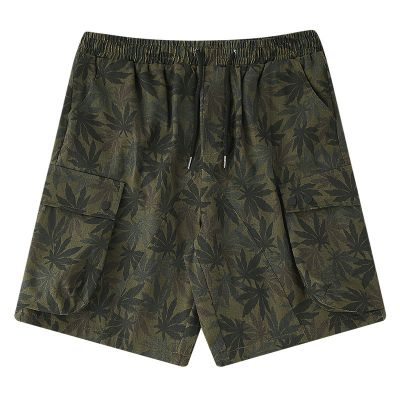 Men's fabric shorts with weed camouflage pattern