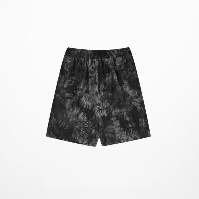 Men's fabric shorts with gray tie dye pattern