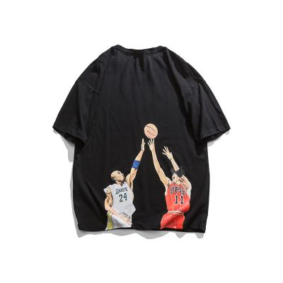 Short sleeve t shirt with basketball player print