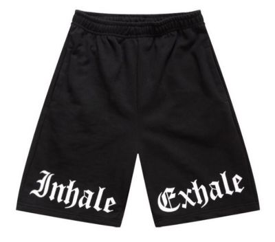 Cotton Swag Basketball Shorts with Inhale Exhale Print on Knees