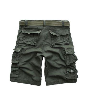 Kaki Army Baggy Shorts for Men Camouflage Print Bermuda
