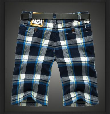 Plaid Checkered Shorts for Men Summer Canvas Grey and Red
