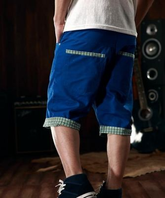 Bermuda shorts for Men with Plaid Fabric Cuff at the Bottom