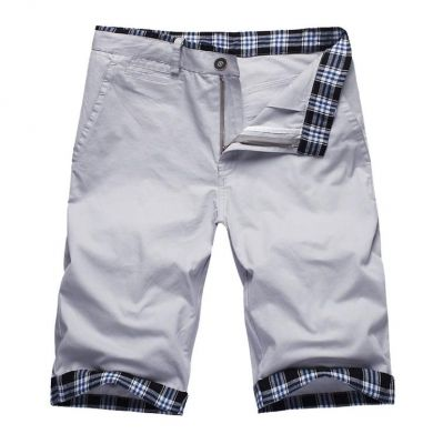 Ivory White Bermuda Summer shorts for Men with Checkered Cuff
