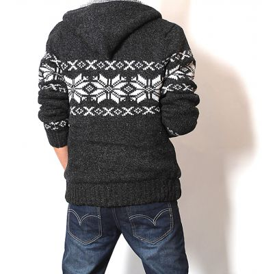 Thick Wool Hoodie for Men with Inner Fur and Winter Stripe Print