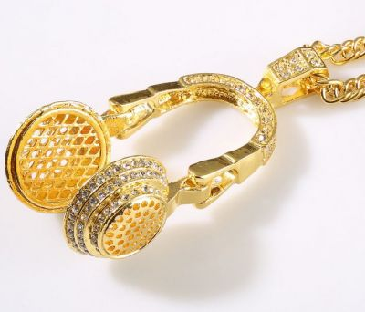 Headphones Bling Bling Necklace Audio DJ Swag Hip Hop Pendant Gold Silver