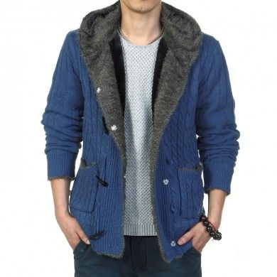 Button Down Hoodie for men with Inside Fur Thick Wool Vest