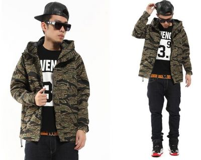 Military Camo Windbreaker Jacket for Men with Army Green Print