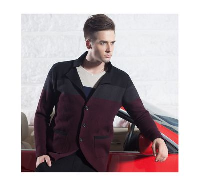 Cardigan for men with tricolor large stripe design and 3 button closure