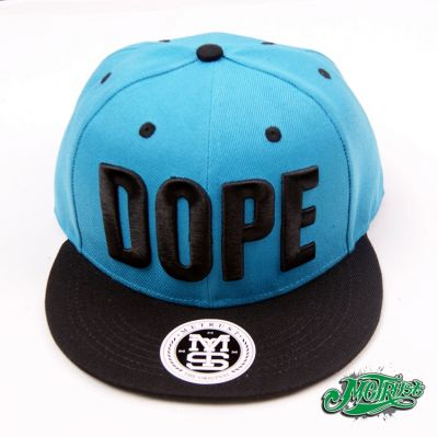 DOPE Snapback Baseball Cap with Sky Blue Head and Black Visor