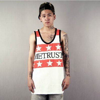 MeTrust Red Stars Print Tank Top T shirt with White Stripes