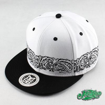 Hip Hop Snapback Cap with Paisley Bandana Print Stripe around base