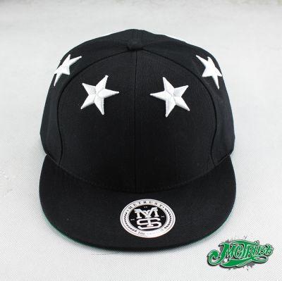6 White Star Design Snapback Baseball Cap - Black