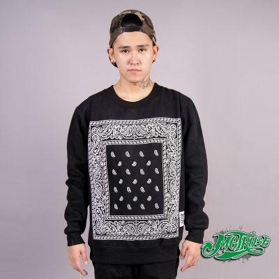 Bandana Print Crewneck Sweater with Square Paisley Pattern