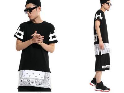 Long T shirt with Bandana Extension Paisley Print Sleeve Cross
