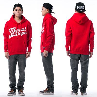 Hoodie Sweatshirt with Metrust So Dope Script Design - Red